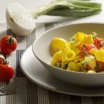 piatto di pipe con verdure grigliate